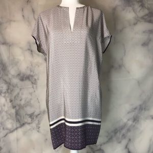 Vince purple and gray short sleeved tunic dress